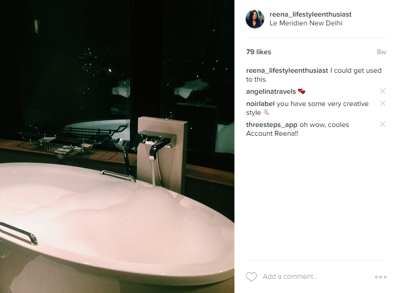 Le Meridien New Delhi Bathtub at Night @reena_lifestyleenthusiast Instagram