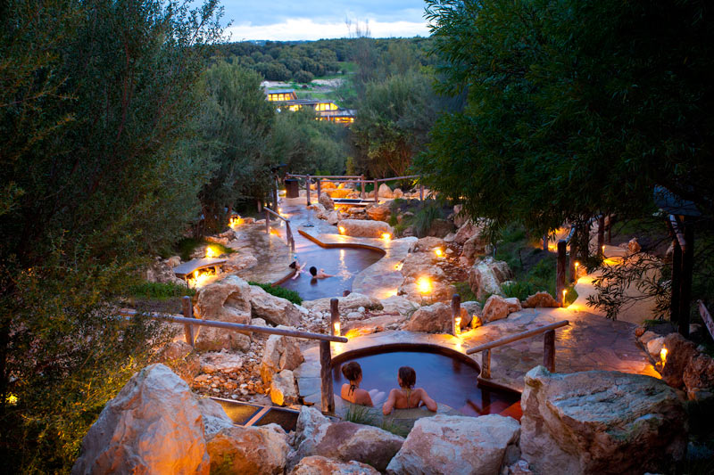 Peninsula Hot Springs - pools in the evening