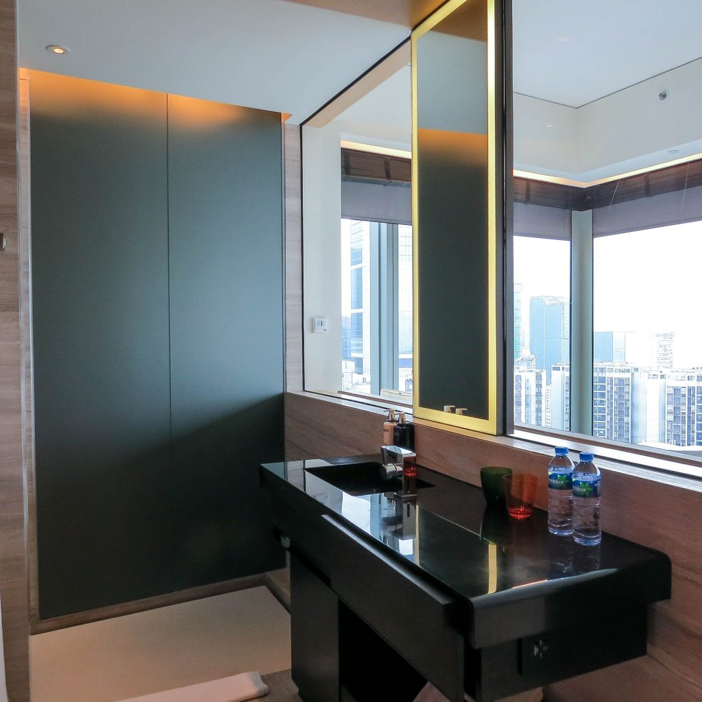 East Hotel Hong Kong - Sink and Shower Area