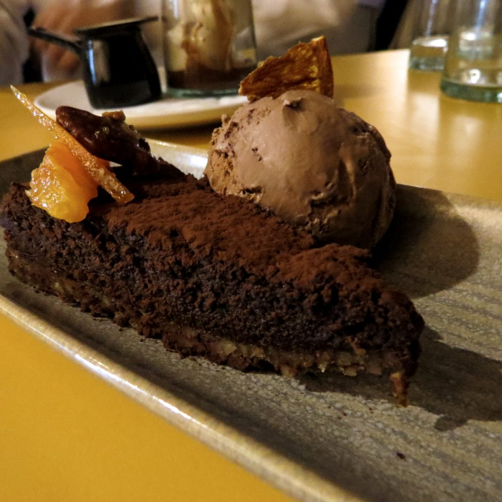 Honey & Smoke Chocolate Mud Pie with Chocolate Orange Ice cream