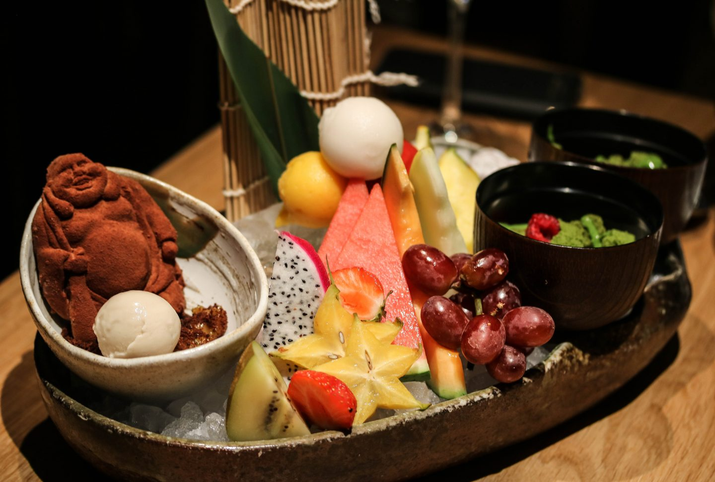 Roka Aldwych - Lifestyle Enthusiast Blog - What to order at Roka - Dessert platter of chocolate buddha, yuzu truffles, fruit and panna cotta