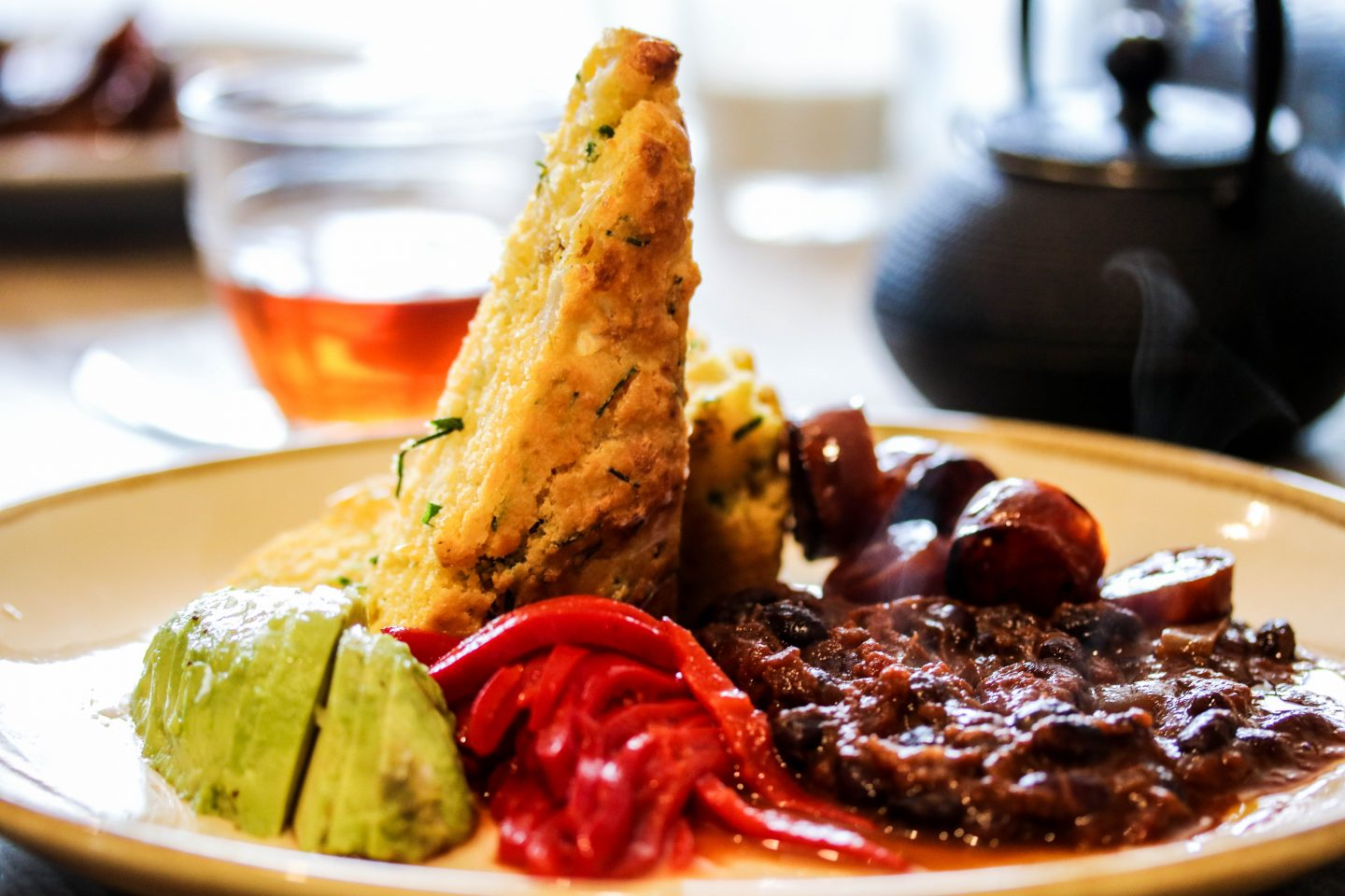 Mill Kitchen Farsley, the best breakfast in Yorkshire, Review on the Lifestyle Enthusiast - Goat Cheese Cornbread Muffin with Avocado and Chorizo