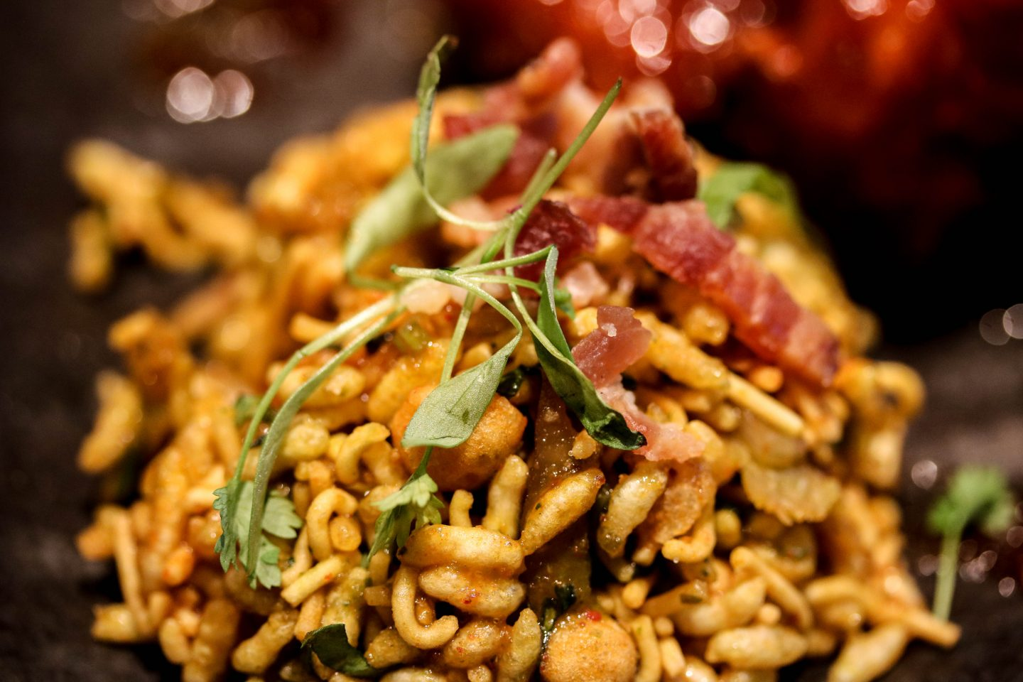 Bacon Bhel at Chai Ki, Canary Wharf - Lifestyle Enthusiast Blog Recovery Brunch Review