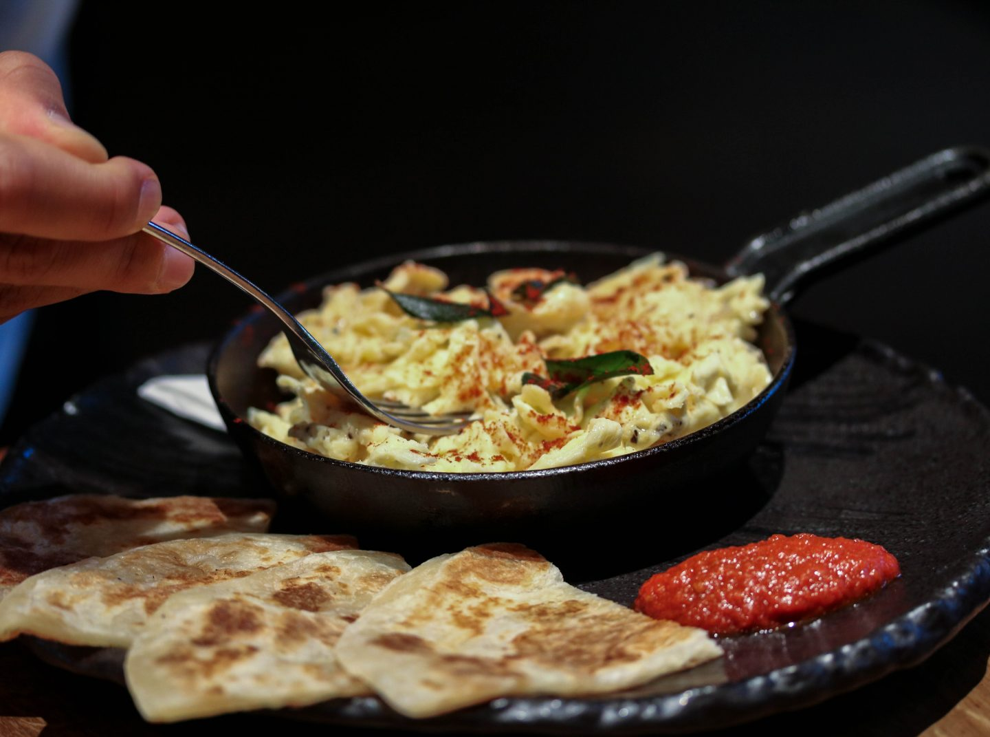 Miso and curry leaf scrambled egg and parathas at Chai Ki, Canary Wharf - Lifestyle Enthusiast Blog Recovery Brunch Review