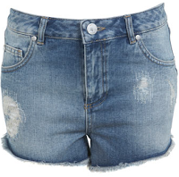 Lifestyle Enthusiast - Miss Selfridge Mid Wash Patched Denim Shorts
