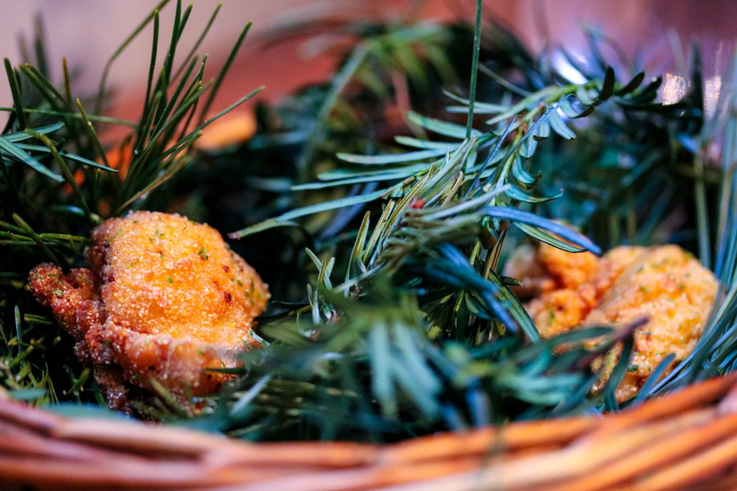 Fried chicken on pine leaves _ Clove Club _ Lifestyle Enthusiast Blog