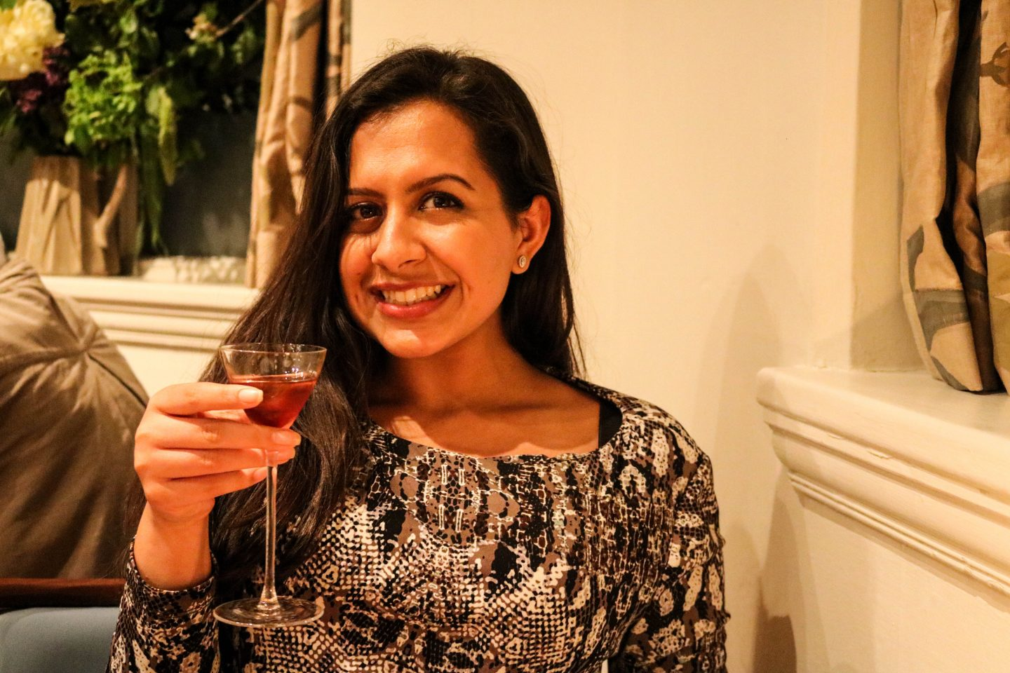 Reena with Sloe Sherry _ Clove Club _ Lifestyle Enthusiast Blog Review